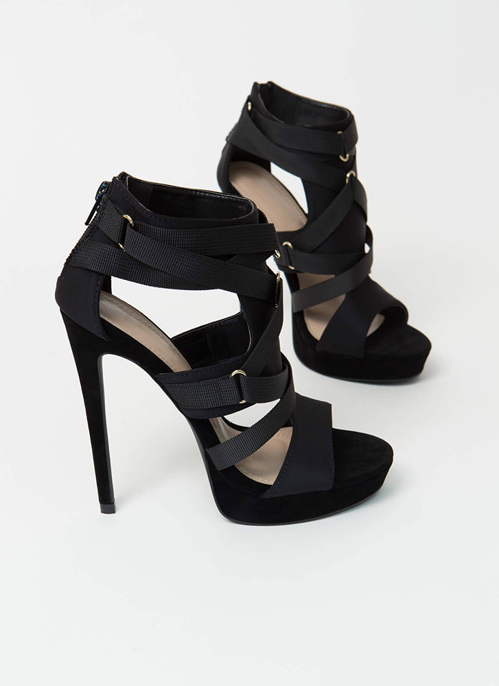 Harness Your Power Strappy Cut-Out Heels BLACK