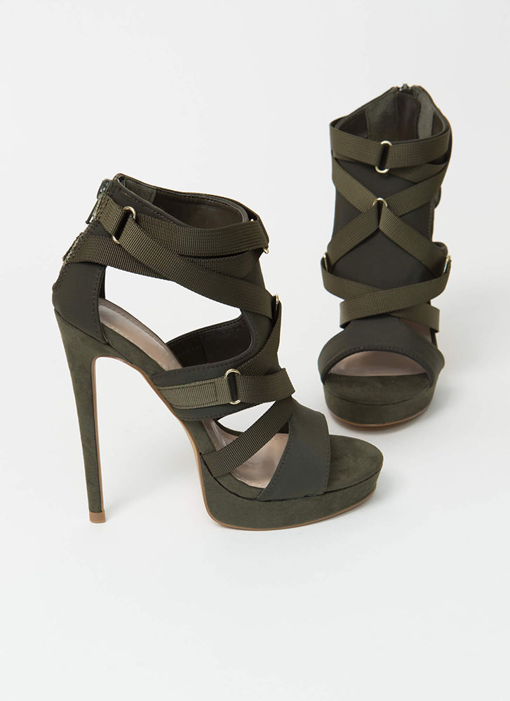 Harness Your Power Strappy Cut-Out Heels OLIVE