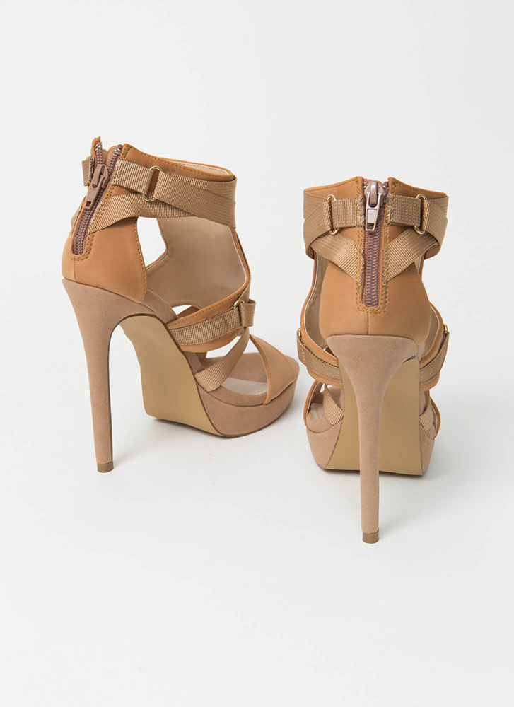 Harness Your Power Strappy Cut-Out Heels TAUPE