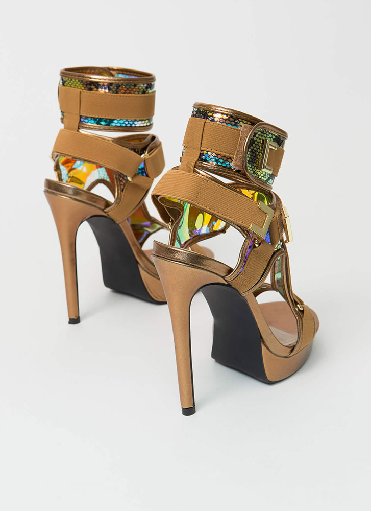 Harness Your Gift Banded Platform Heels BRONZE