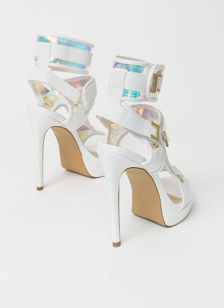 Harness Your Gift Banded Platform Heels WHITE