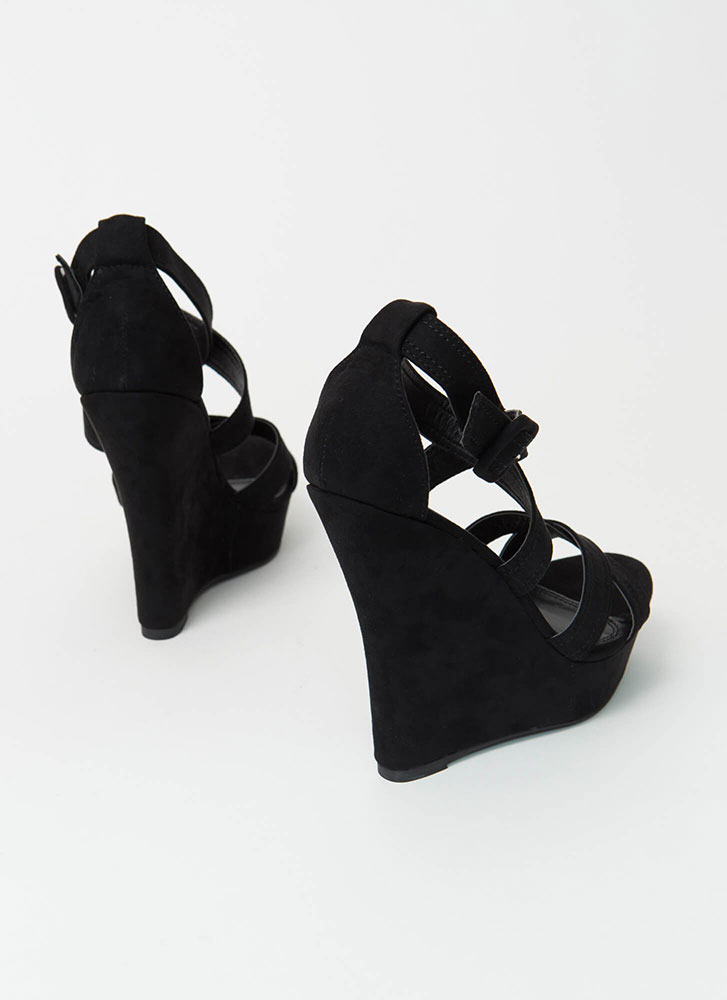 Rated Double-X Strappy Platform Wedges BLACK