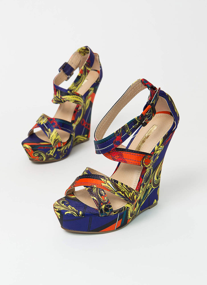Rated Double-X Strappy Platform Wedges MULTI