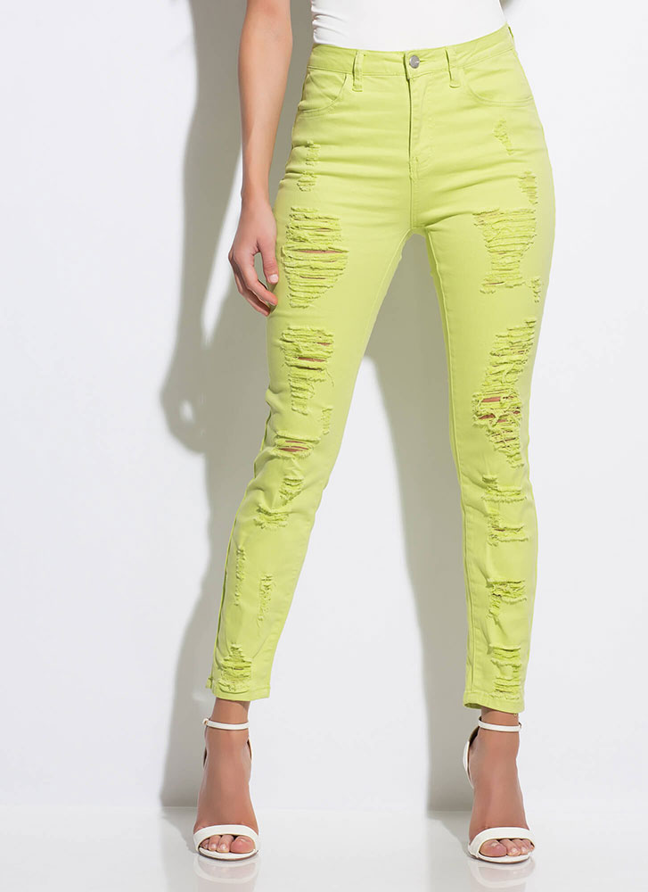 Front To Back Destroyed Skinny Jeans LIME