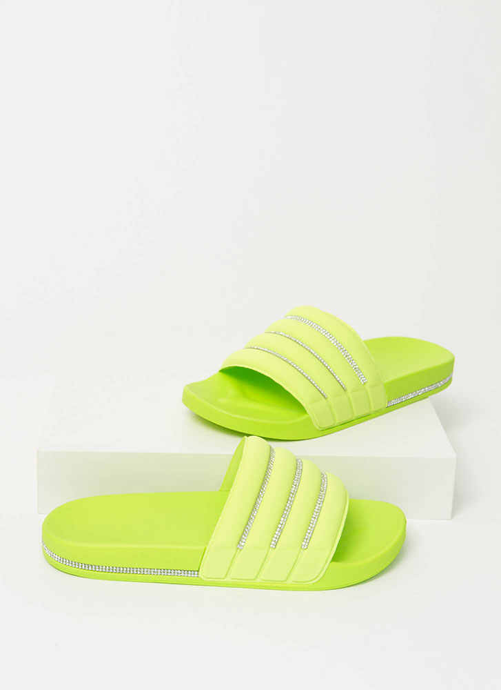 Feeling Quilty Jeweled Slide Sandals GREEN