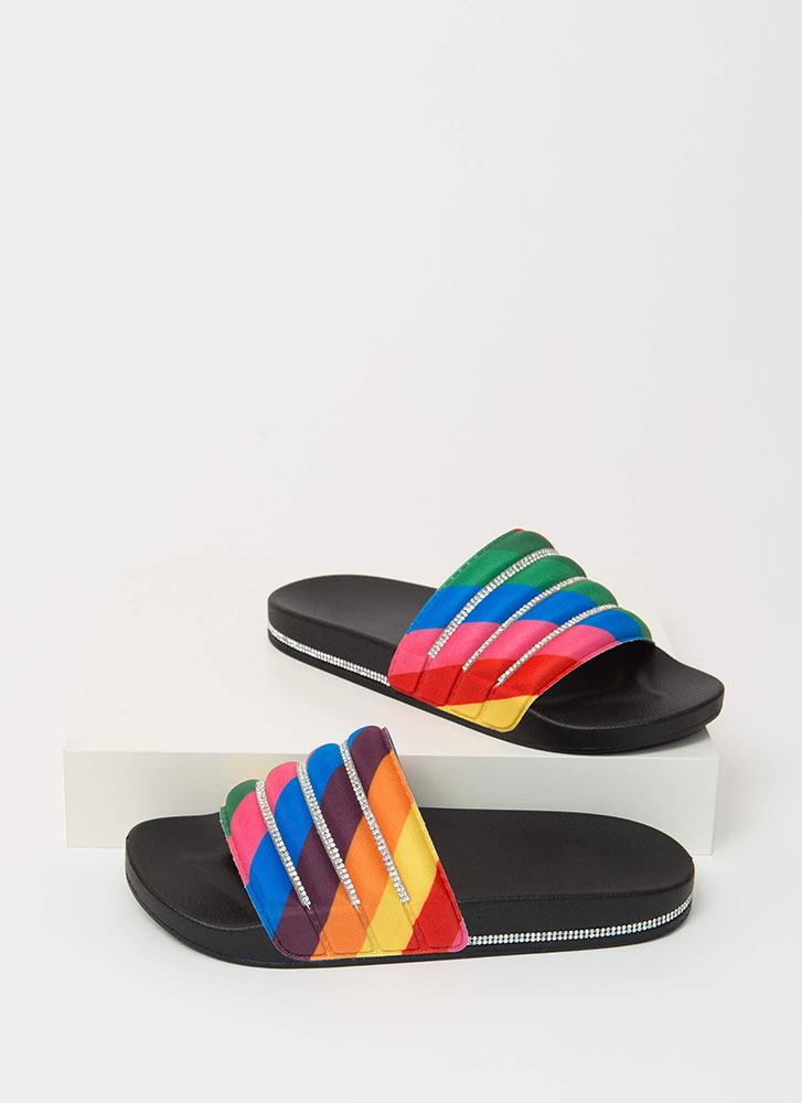 Feeling Quilty Jeweled Slide Sandals RAINBOW