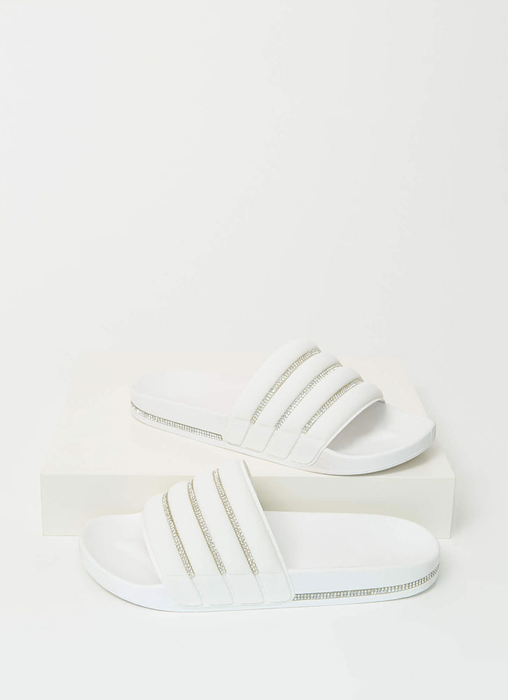 Feeling Quilty Jeweled Slide Sandals WHITE