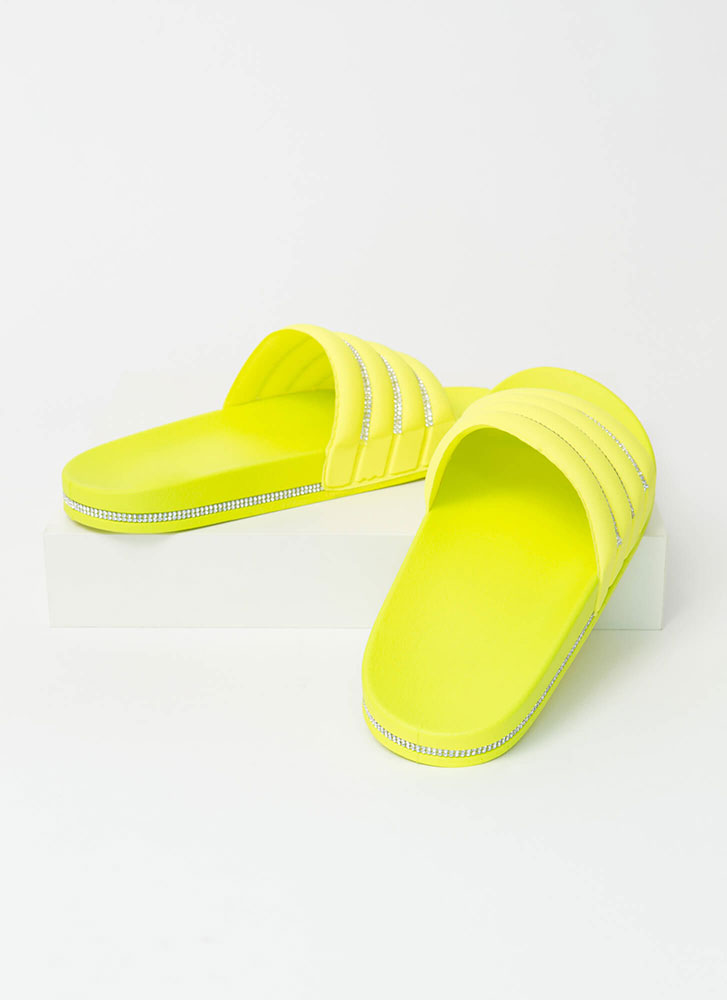 Feeling Quilty Jeweled Slide Sandals YELLOW