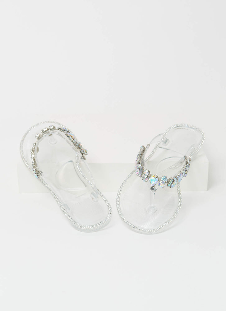 Jewel Collection Jelly Thong Sandals CLEAR