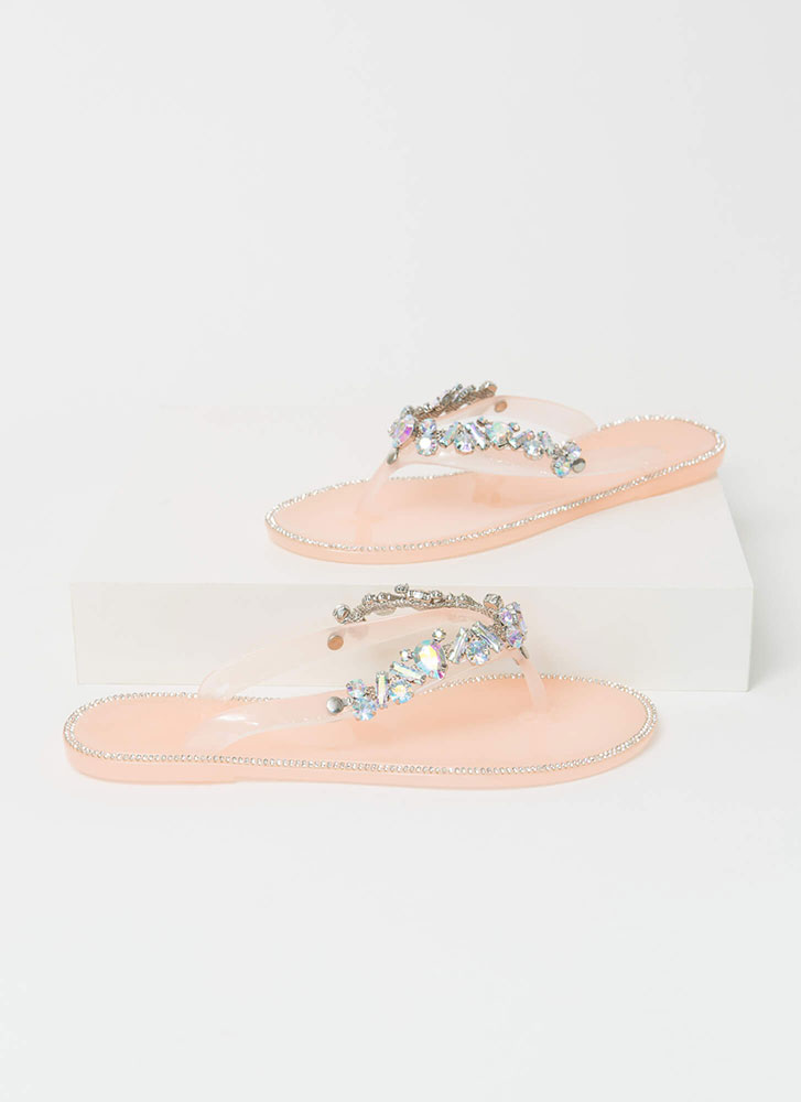 Jewel Collection Jelly Thong Sandals NUDE