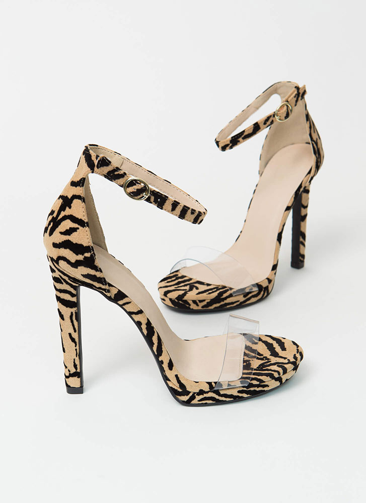 Tiger Tales Clear Strap Animal Heels TIGER