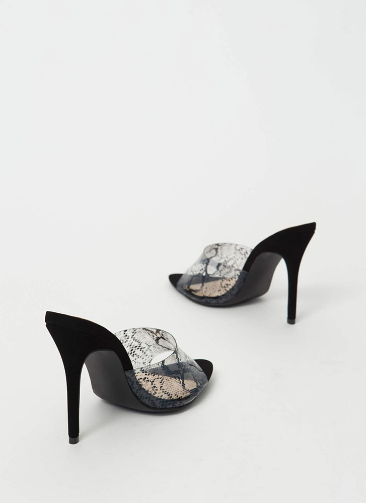 Clear The Way Peep-Toe Mule Heels BLACKSNAKE