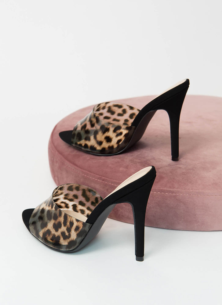 Clear The Way Peep-Toe Mule Heels CAMELLEOPARD