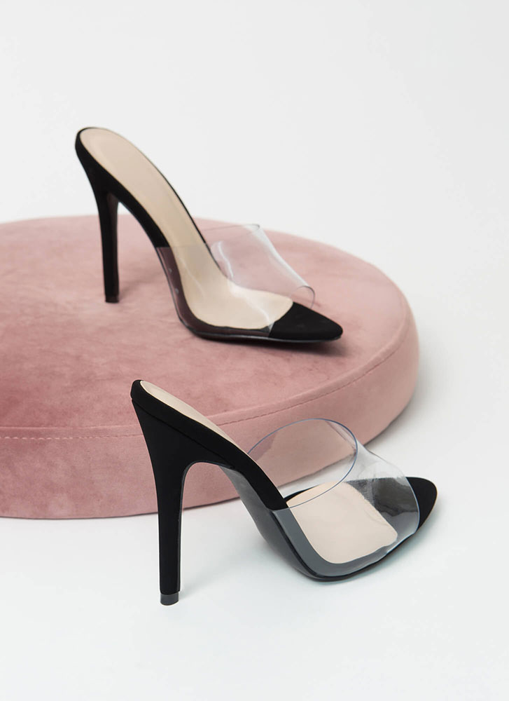 Clear The Way Peep-Toe Mule Heels CLEAR
