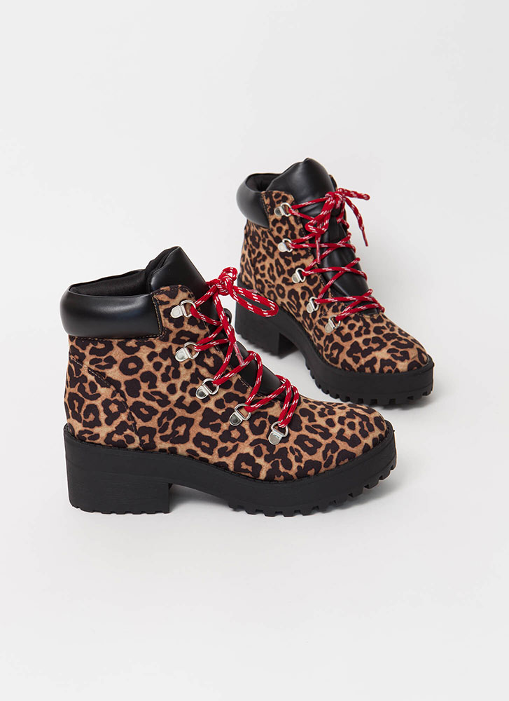 Lace Up In Leopard Block Heel Boots CAMELLEOPARD