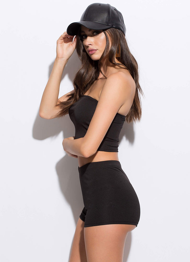 Too Easy Tube Top And Shorts Set BLACK