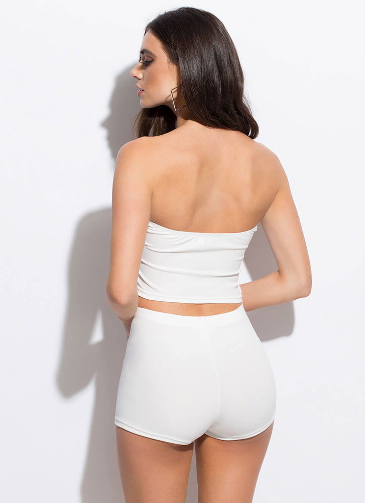Too Easy Tube Top And Shorts Set WHITE
