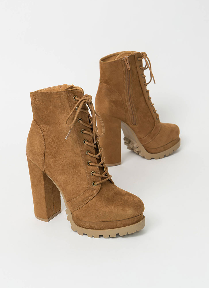 It's True Lug Chunky Faux Suede Booties CHESTNUT