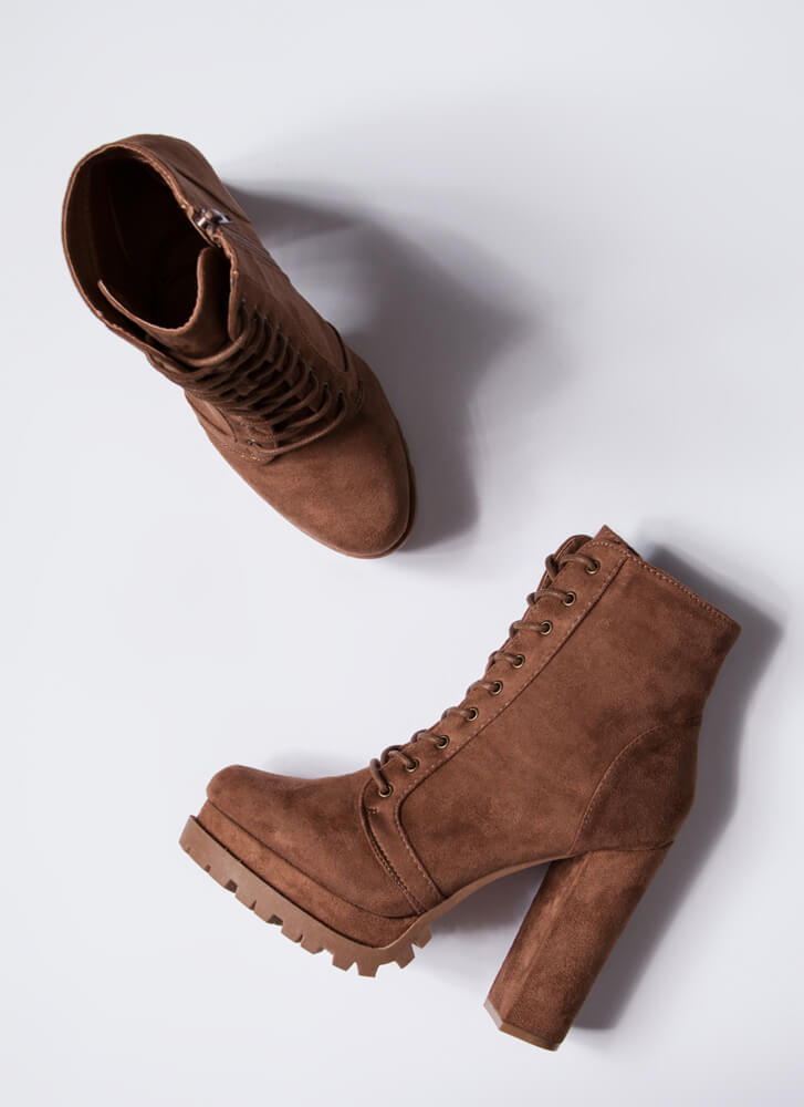 It's True Lug Chunky Faux Suede Booties LTBROWN