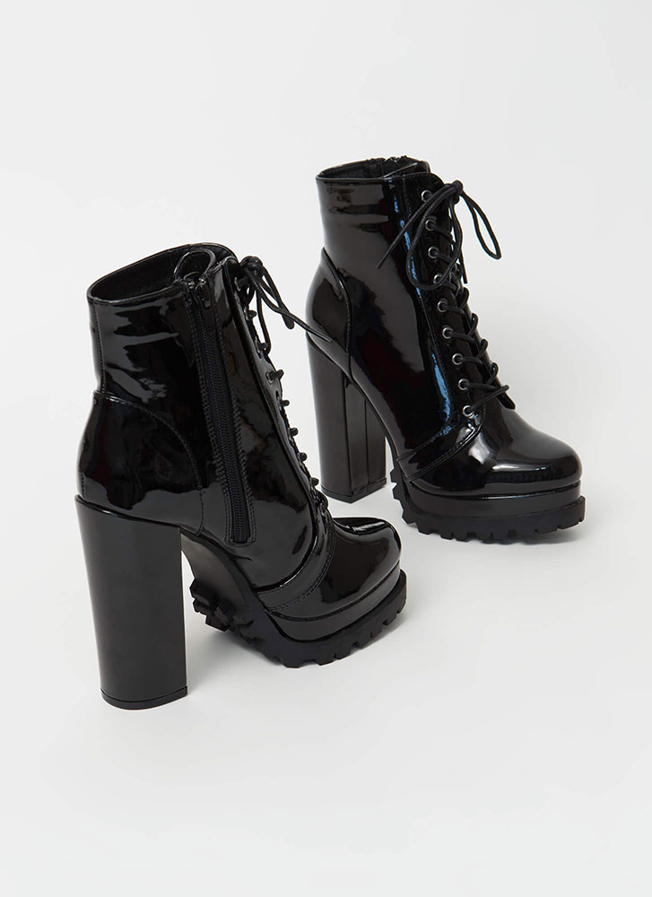 It's True Lug Chunky Faux Patent Booties BLACK