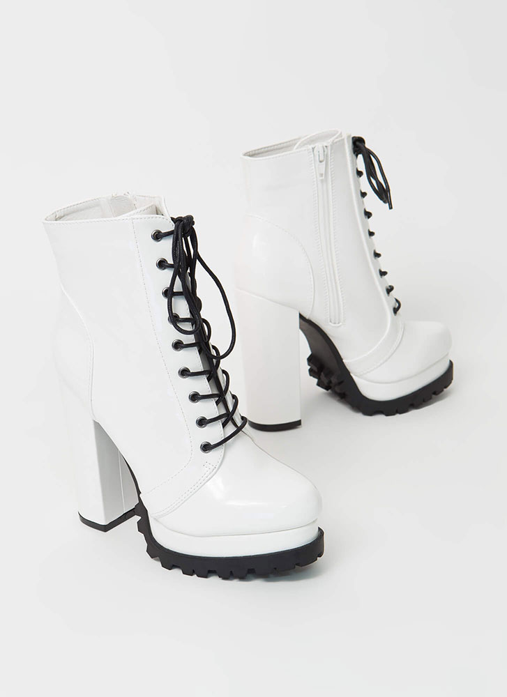 It's True Lug Chunky Faux Patent Booties WHITE