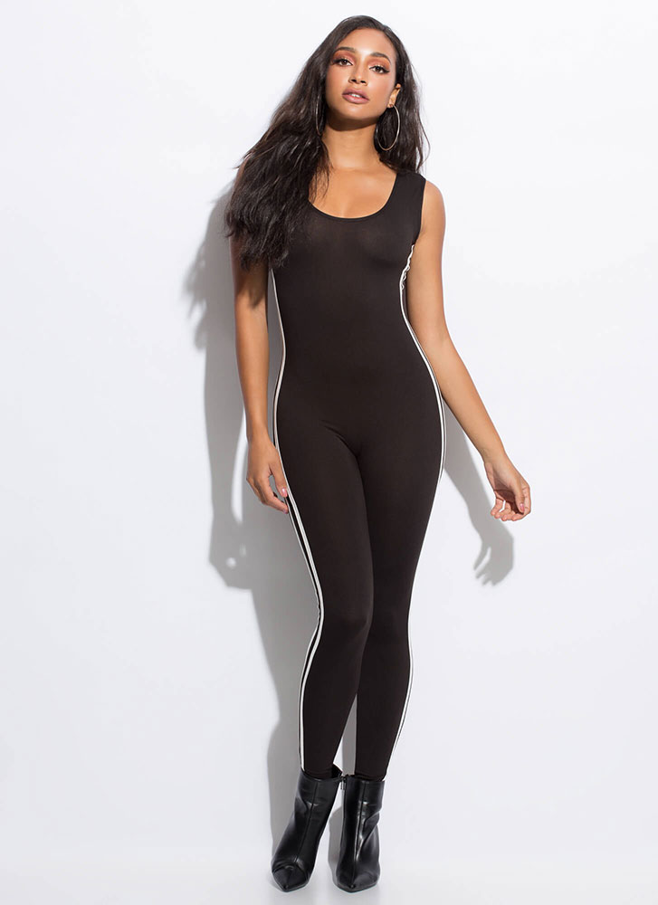 Finish Lines Sporty Striped Jumpsuit BLACK