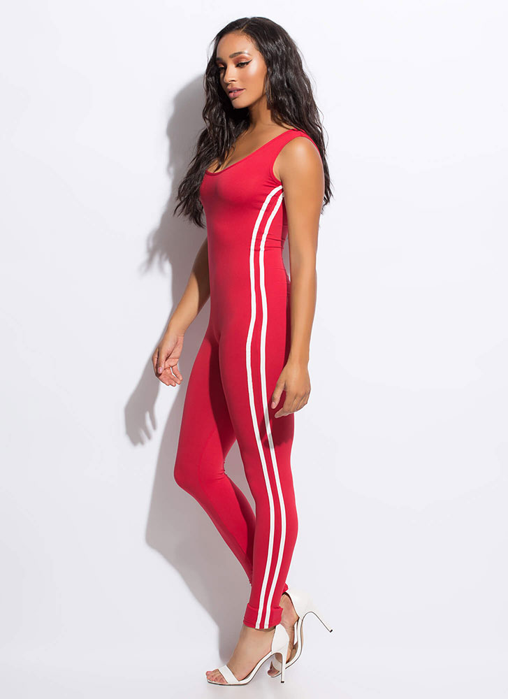 Finish Lines Sporty Striped Jumpsuit RED
