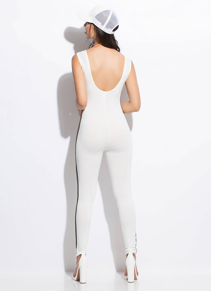 Finish Lines Sporty Striped Jumpsuit WHITE