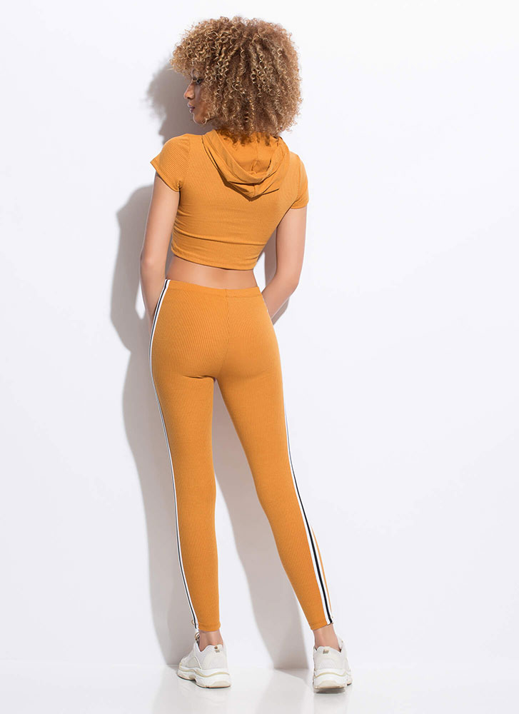 In My Hood Striped Top And Legging Set CAMEL
