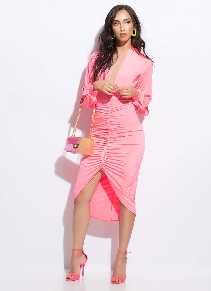 Slits About To Go Down Ruched Dress NEONPINK