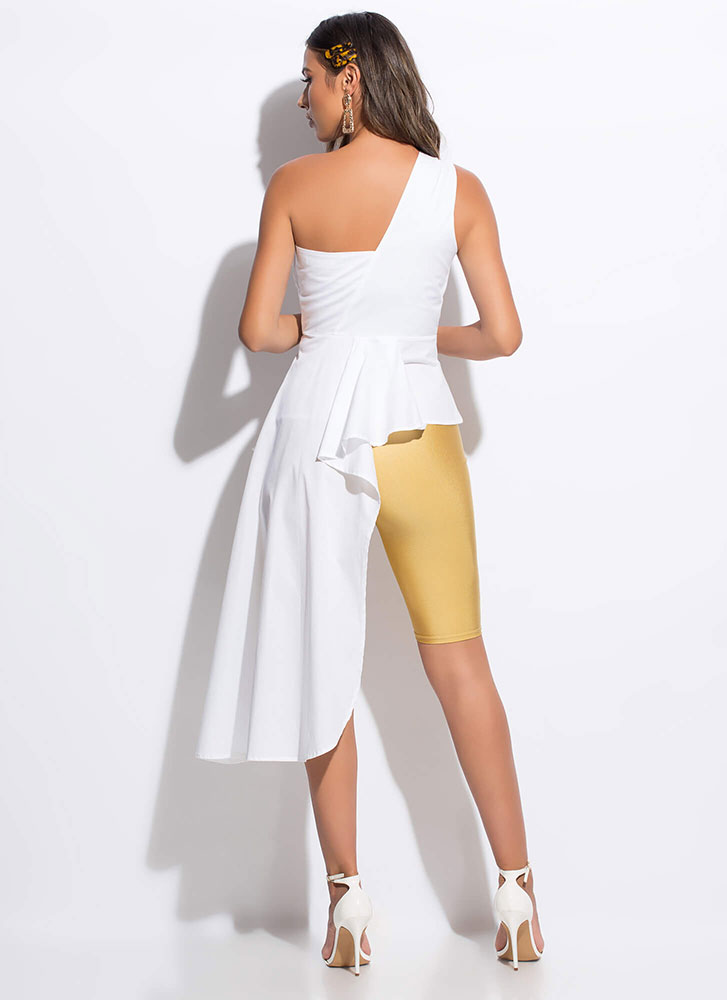 Modern-Day Goddess Draped High-Low Top WHITE