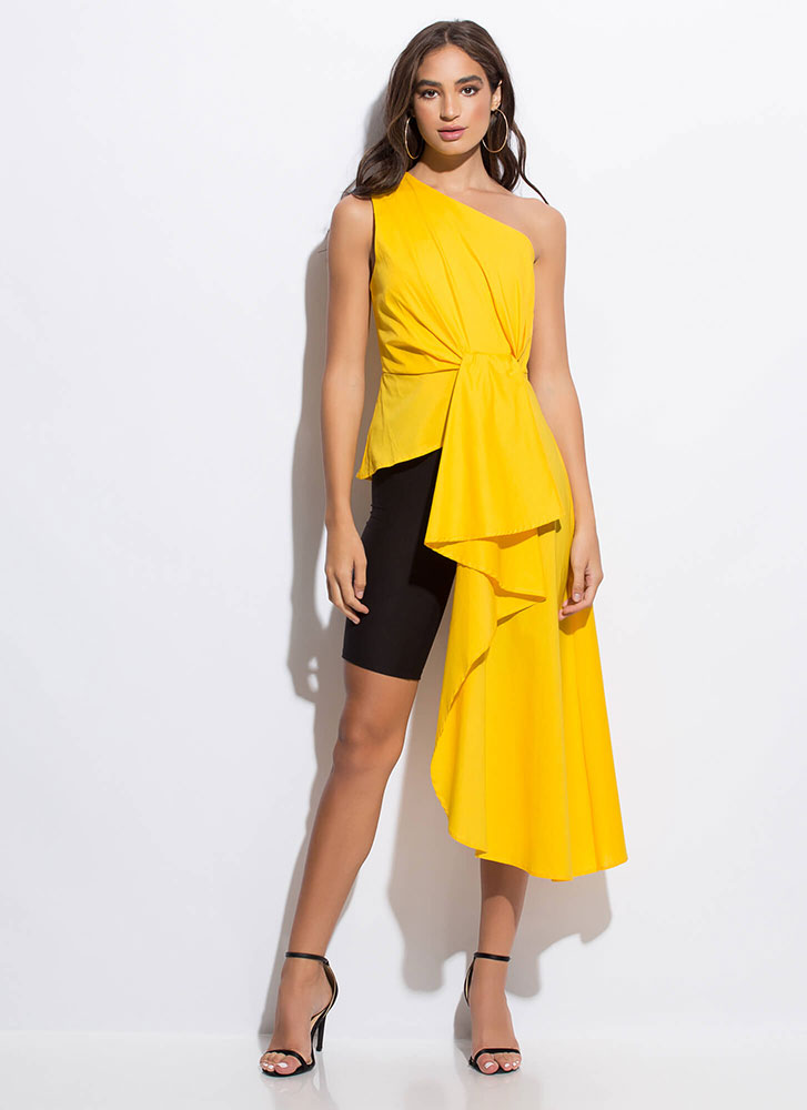 Modern-Day Goddess Draped High-Low Top YELLOW