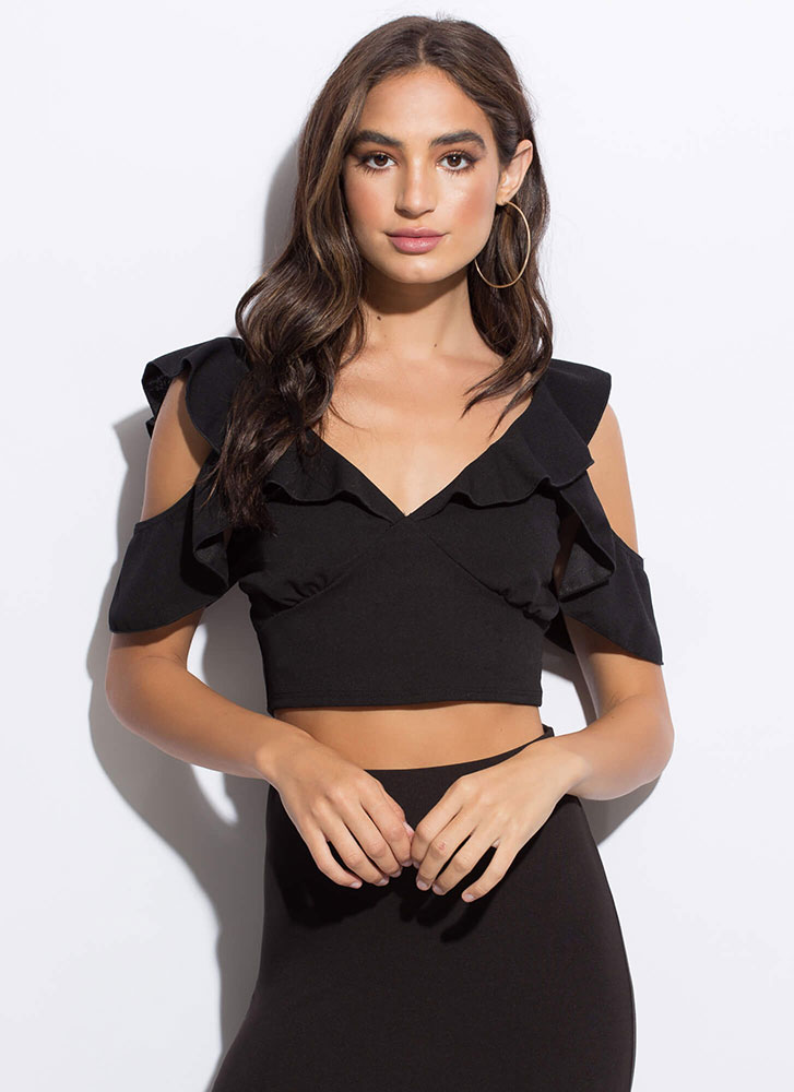 Frilly Weather Ruffled Crop Top BLACK