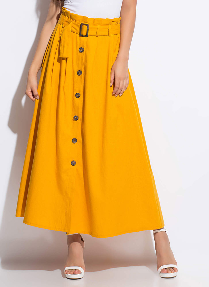 So Chic Belted Button-Front Maxi Skirt MUSTARD