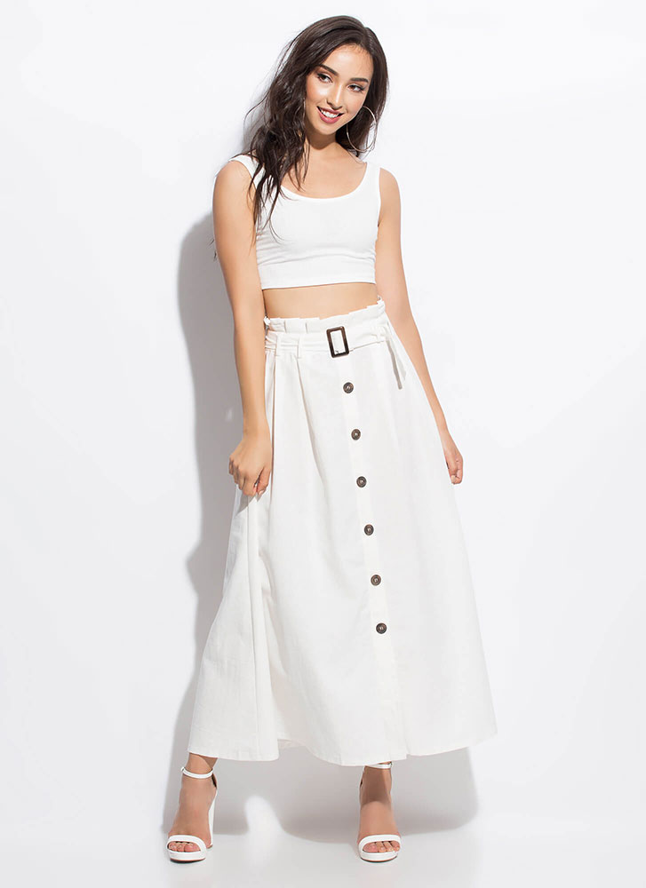 So Chic Belted Button-Front Maxi Skirt WHITE