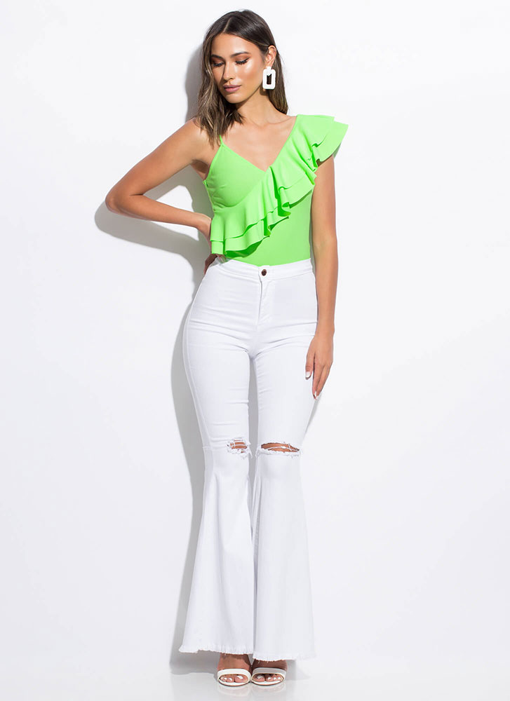 Frill Out Ruffled Asymmetrical Top NEONGREEN
