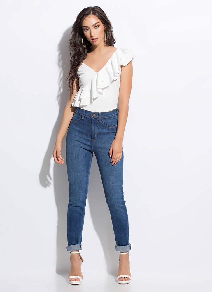 Frill Out Ruffled Asymmetrical Top WHITE