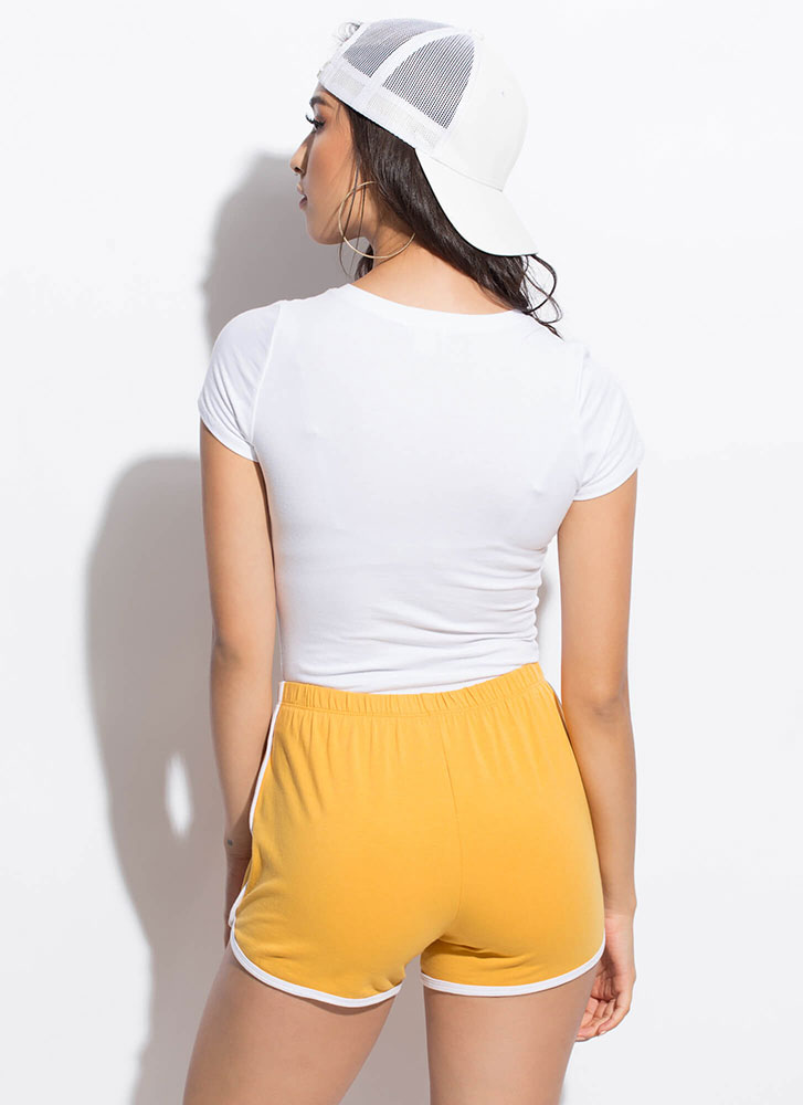Athletic Girl Sporty Striped Shorts MUSTARD