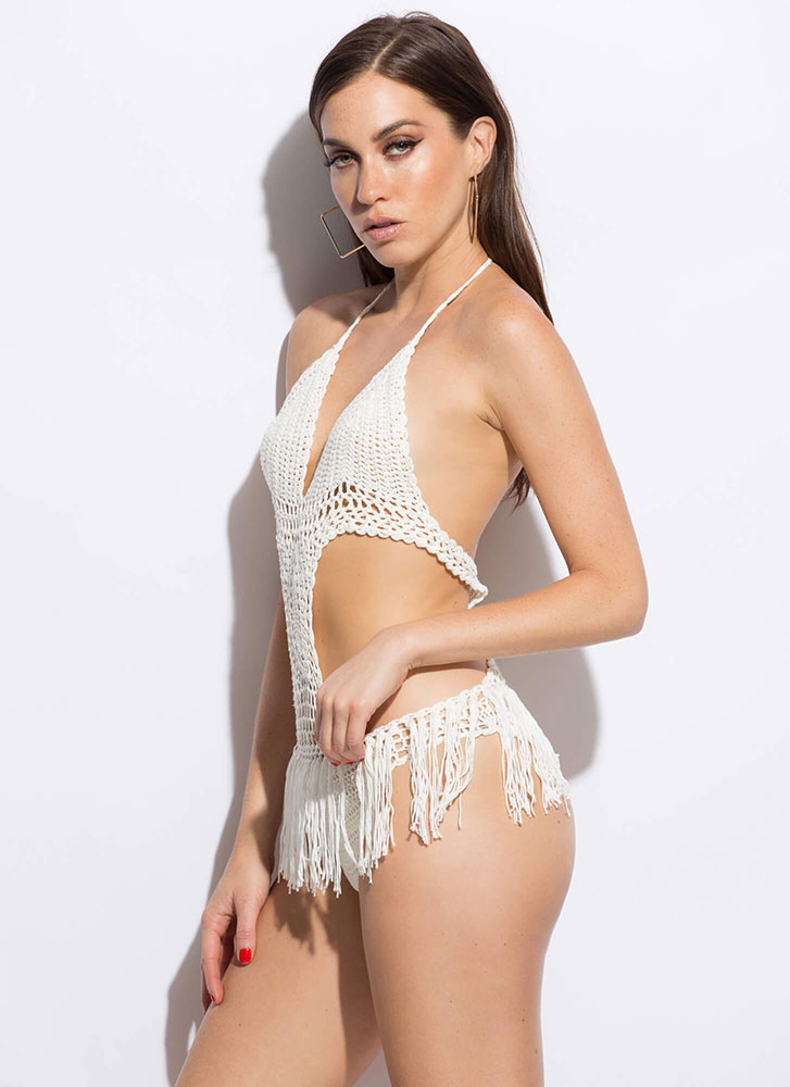 Hot Knit Fringed Crochet Monokini WHITE