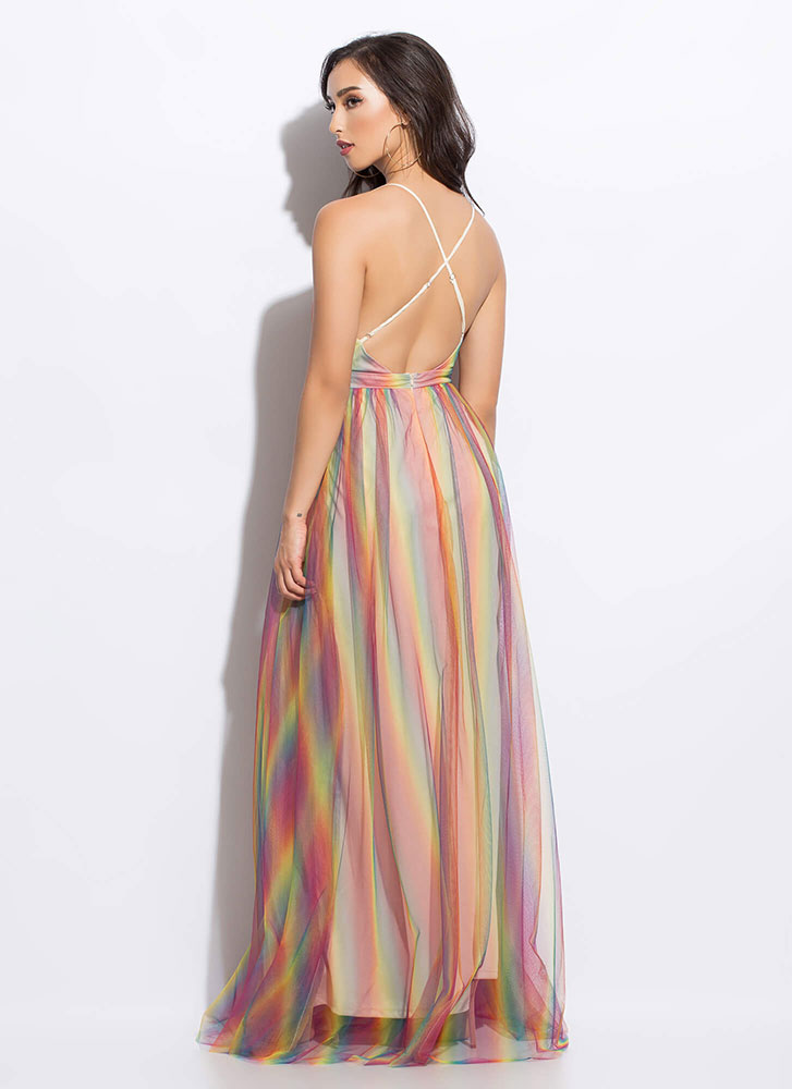 Colorful Night Rainbow Tulle Gown MULTI