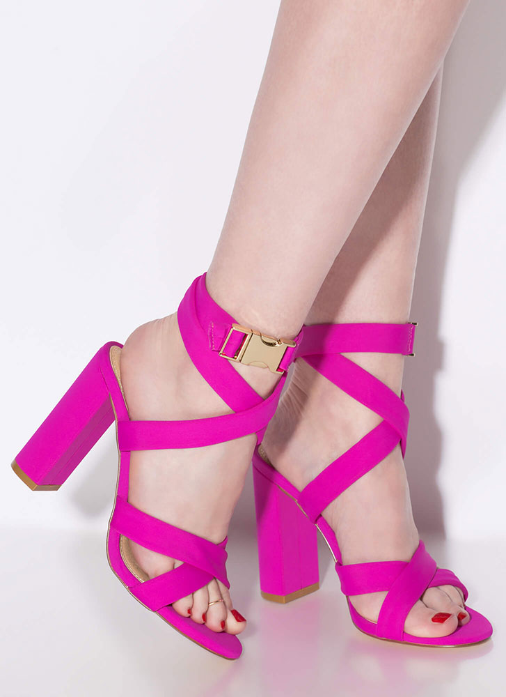 X Games Strappy Chunky Buckled Heels FUCHSIA