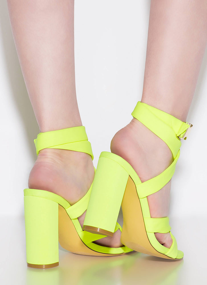 X Games Strappy Chunky Buckled Heels YELLOW