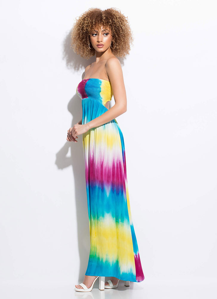 Beachbound Strapless Tie-Dye Maxi Dress MULTI