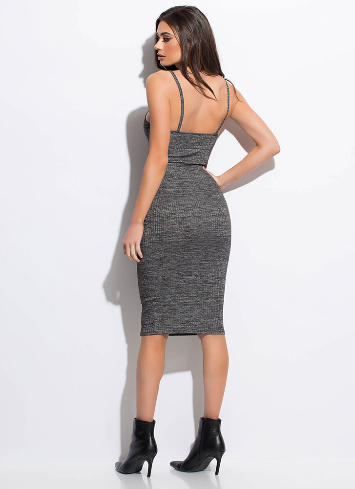 Ready And Willing Rib Knit Midi Dress BLACK