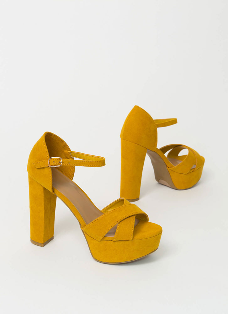 Big Wow Chunky Faux Suede Platform Heels MUSTARD