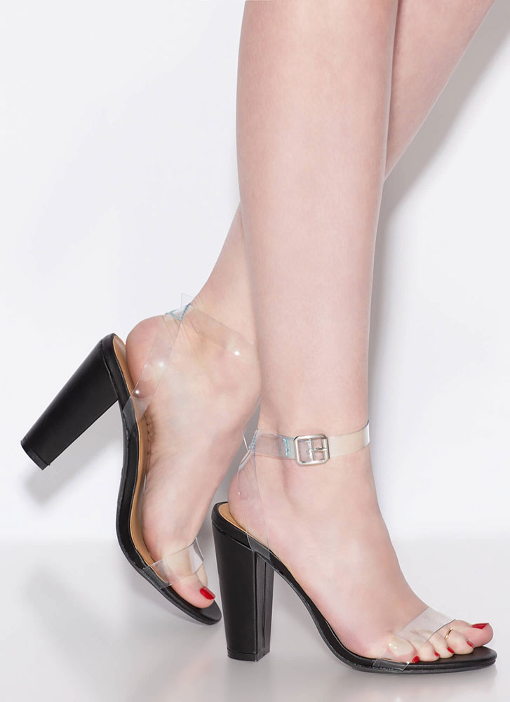 Clear Your Head Chunky Strappy Heels CLEAR