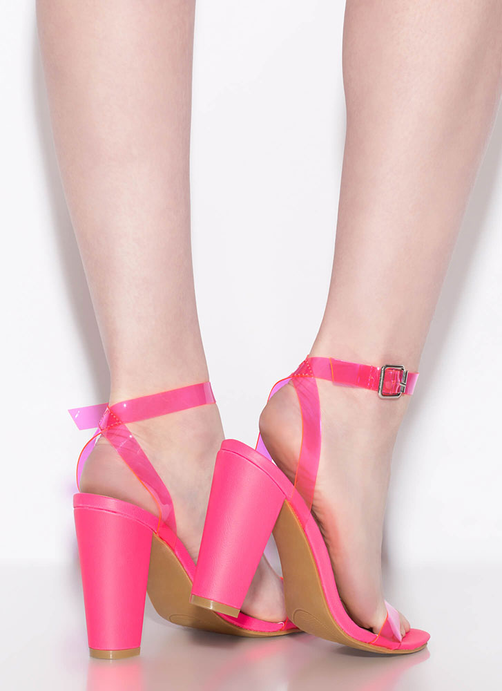 Clear Your Head Chunky Strappy Heels NEONPINK