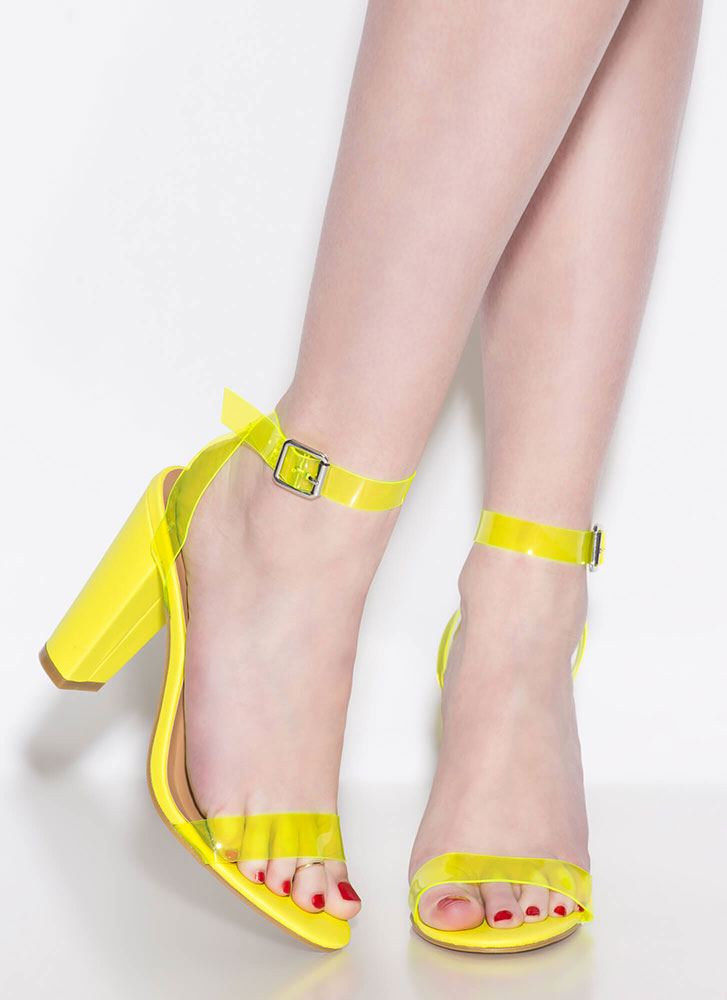 Clear Your Head Chunky Strappy Heels NEONYELLOW