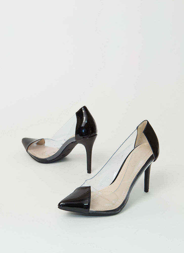 Clear And To The Point Illusion Pumps BLACK