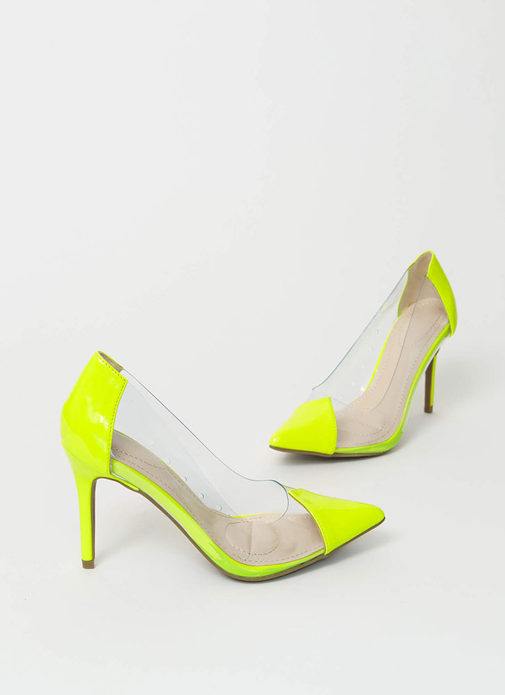 Clear And To The Point Illusion Pumps NEONYELLOW